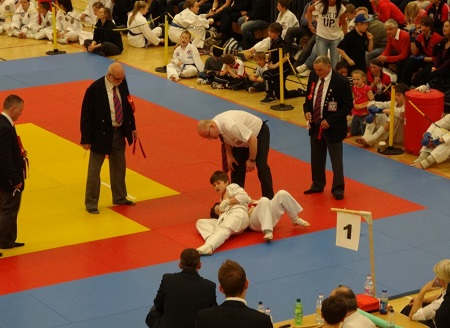 Two young competitors fighting